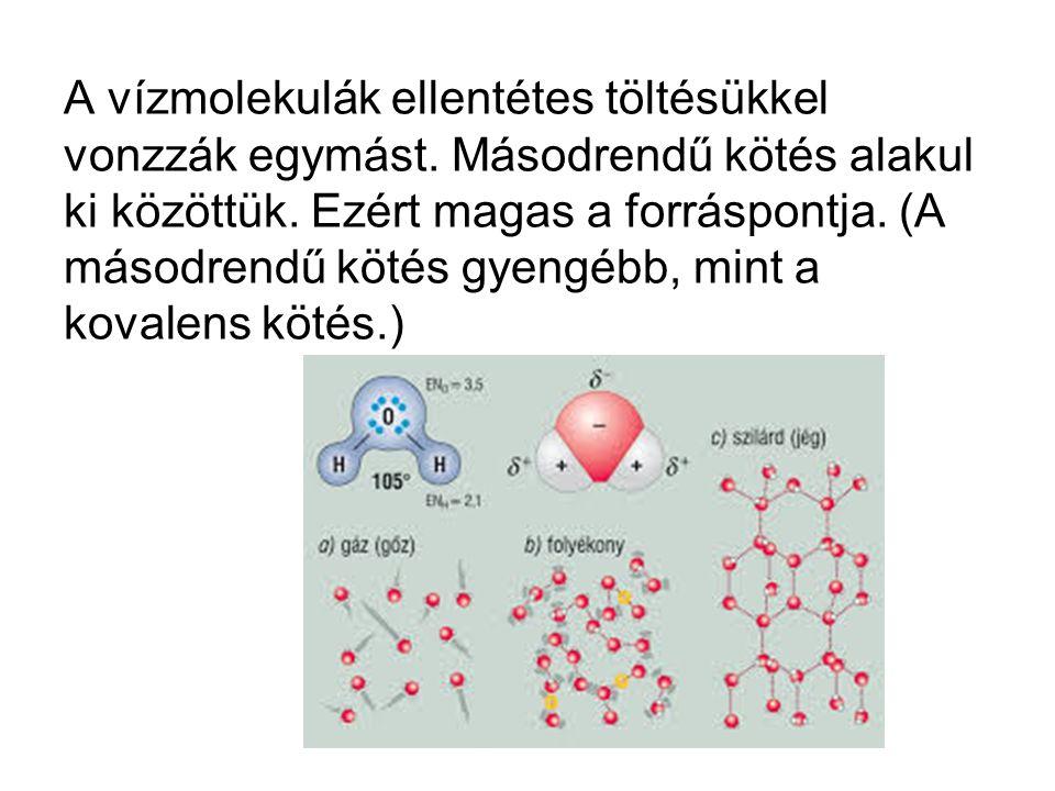 A vízmolekulák ellentétes töltésükkel vonzzák egymást.