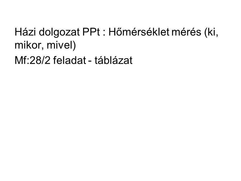 Házi dolgozat PPt : Hőmérséklet mérés (ki, mikor, mivel) Mf:28/2 feladat - táblázat