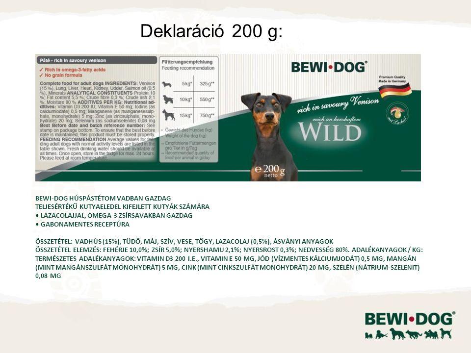 Deklaráció 200 g: BEWI-DOG HÚSPÁSTÉTOM VADBAN GAZDAG TELJESÉRTÉKŰ KUTYAELEDEL KIFEJLETT KUTYÁK SZÁMÁRA LAZACOLAJJAL, OMEGA-3 ZSÍRSAVAKBAN GAZDAG GABON