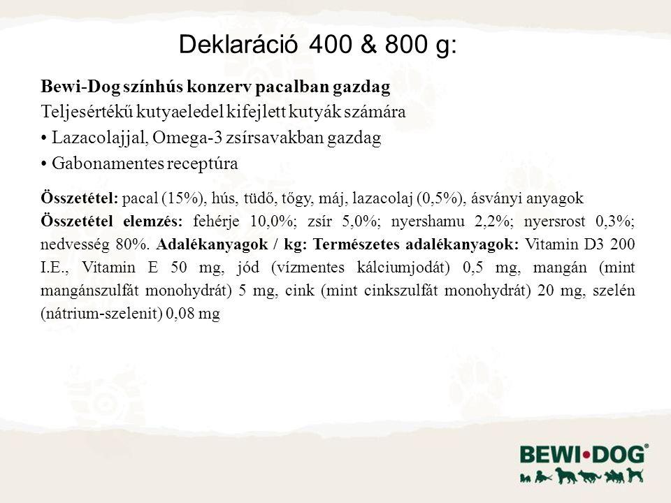 Bewi-Dog színhús konzerv pacalban gazdag Teljesértékű kutyaeledel kifejlett kutyák számára Lazacolajjal, Omega-3 zsírsavakban gazdag Gabonamentes receptúra Összetétel: pacal (15%), hús, tüdő, tőgy, máj, lazacolaj (0,5%), ásványi anyagok Összetétel elemzés: fehérje 10,0%; zsír 5,0%; nyershamu 2,2%; nyersrost 0,3%; nedvesség 80%.