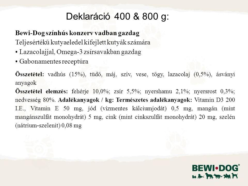 Bewi-Dog színhús konzerv vadban gazdag Teljesértékű kutyaeledel kifejlett kutyák számára Lazacolajjal, Omega-3 zsírsavakban gazdag Gabonamentes receptúra Összetétel: vadhús (15%), tüdő, máj, szív, vese, tőgy, lazacolaj (0,5%), ásványi anyagok Összetétel elemzés: fehérje 10,0%; zsír 5,5%; nyershamu 2,1%; nyersrost 0,3%; nedvesség 80%.