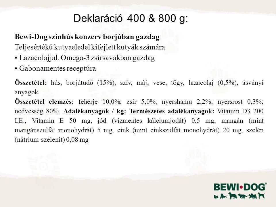 Bewi-Dog színhús konzerv borjúban gazdag Teljesértékű kutyaeledel kifejlett kutyák számára Lazacolajjal, Omega-3 zsírsavakban gazdag Gabonamentes receptúra Összetétel: hús, borjútüdő (15%), szív, máj, vese, tőgy, lazacolaj (0,5%), ásványi anyagok Összetétel elemzés: fehérje 10,0%; zsír 5,0%; nyershamu 2,2%; nyersrost 0,3%; nedvesség 80%.