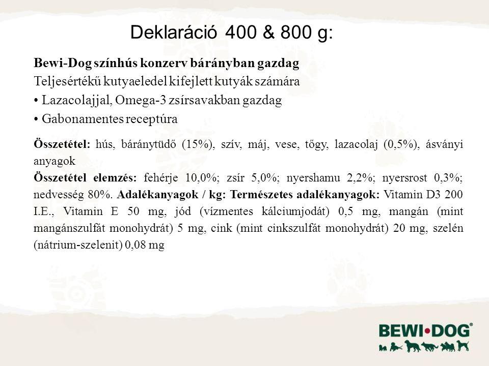 Bewi-Dog színhús konzerv bárányban gazdag Teljesértékű kutyaeledel kifejlett kutyák számára Lazacolajjal, Omega-3 zsírsavakban gazdag Gabonamentes receptúra Összetétel: hús, báránytüdő (15%), szív, máj, vese, tőgy, lazacolaj (0,5%), ásványi anyagok Összetétel elemzés: fehérje 10,0%; zsír 5,0%; nyershamu 2,2%; nyersrost 0,3%; nedvesség 80%.