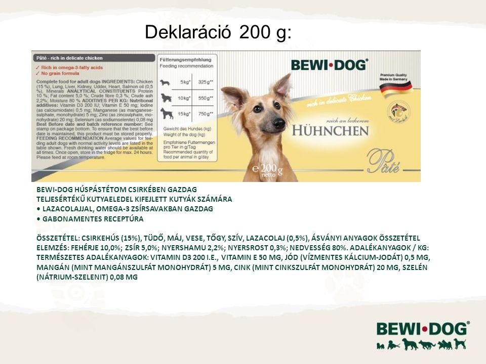 Bewi-Dog színhús konzerv tyúkban gazdag Teljesértékű kutyaeledel kifejlett kutyák számára Lazacolajjal, Omega-3 zsírsavakban gazdag Gabonamentes receptúra Összetétel: tyúkhús (15%), tüdő, máj, vese, tőgy, szív, lazacolaj (0,5%), ásványi anyagok Összetétel elemzés: fehérje 10,0%; zsír 5,0%; nyershamu 2,2%; nyersrost 0,3%; nedvesség 80%.