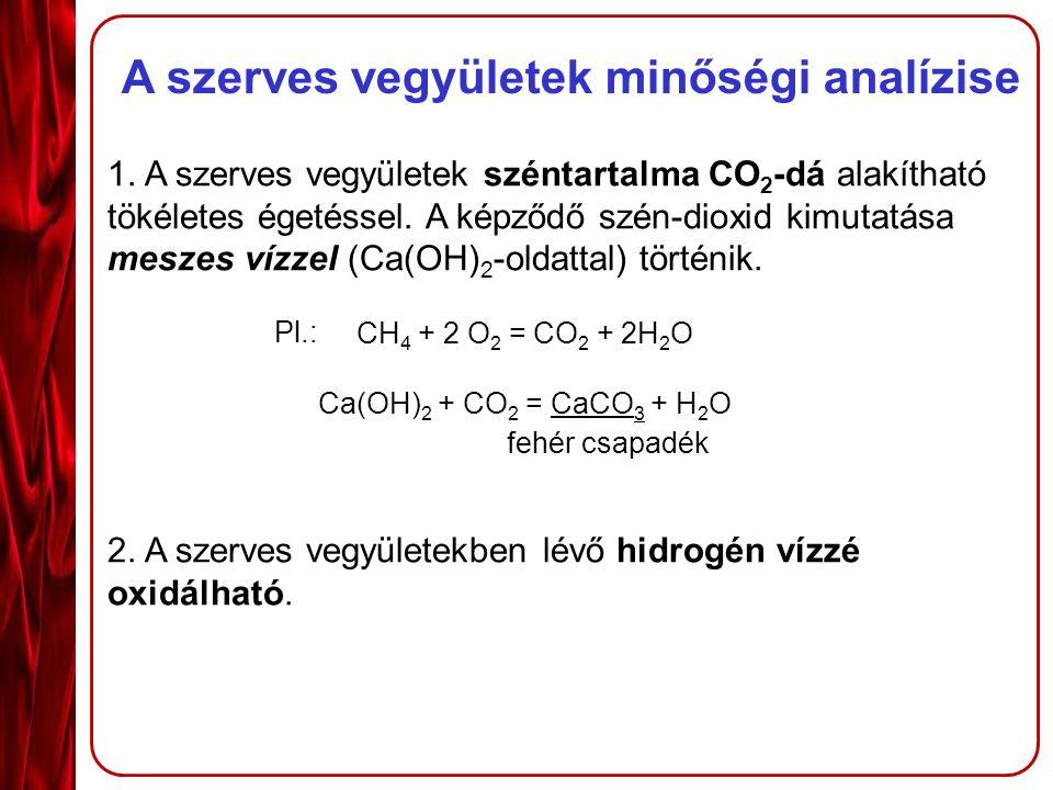 A szerves vegyületek minőségi analízise 1.