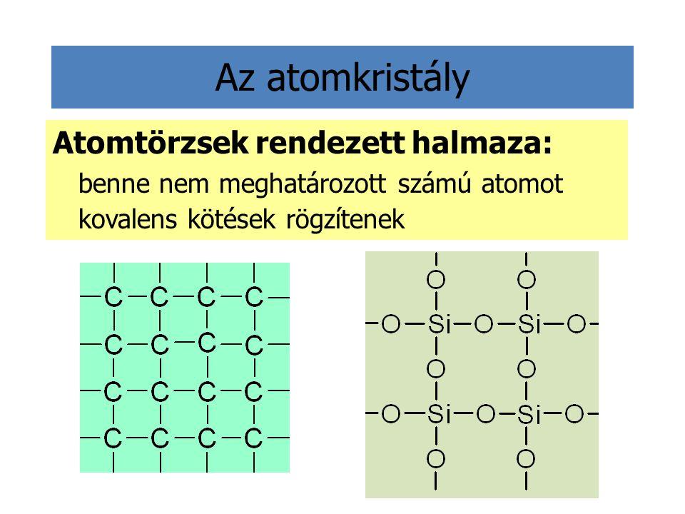 Az atomkristály Atomtörzsek rendezett halmaza: benne nem meghatározott számú atomot kovalens kötések rögzítenek