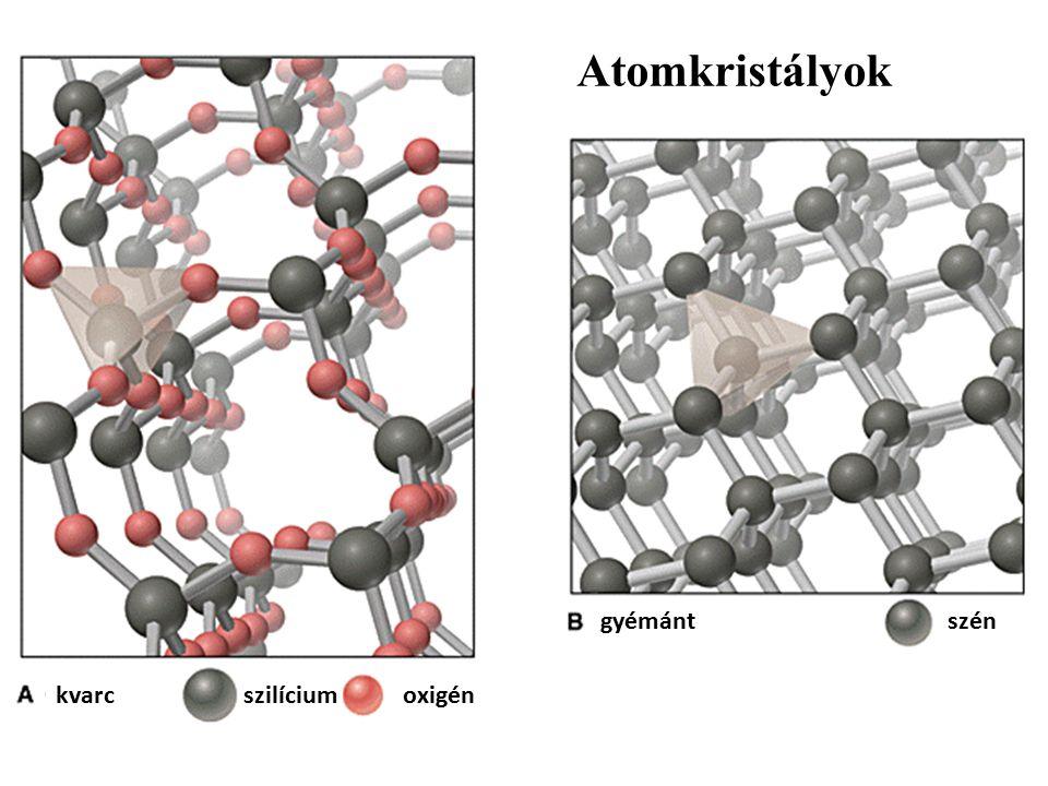 kvarc gyémántszén szilíciumoxigén Atomkristályok