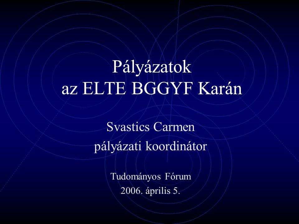 Pályázatok az ELTE BGGYF Karán Svastics Carmen pályázati koordinátor Tudományos Fórum 2006.