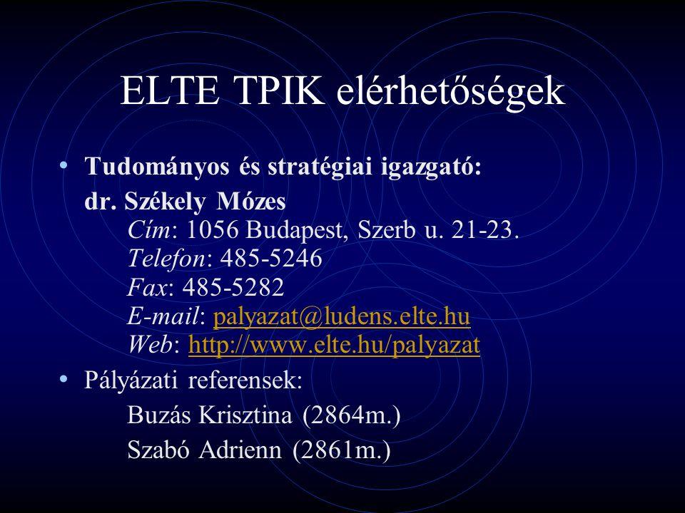ELTE TPIK elérhetőségek Tudományos és stratégiai igazgató: dr.