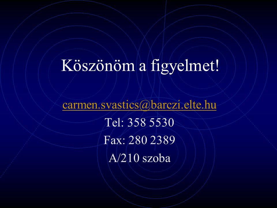 Köszönöm a figyelmet! carmen.svastics@barczi.elte.hu Tel: 358 5530 Fax: 280 2389 A/210 szoba
