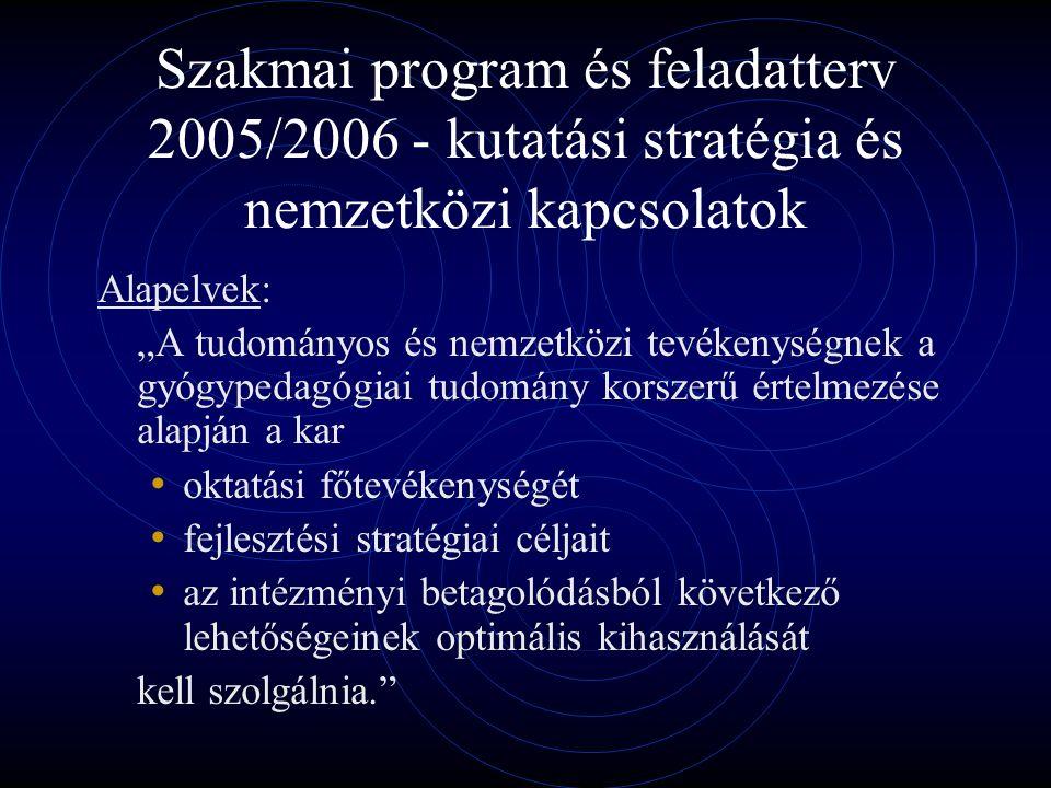 """Szakmai program és feladatterv 2005/2006 - kutatási stratégia és nemzetközi kapcsolatok Alapelvek: """"A tudományos és nemzetközi tevékenységnek a gyógypedagógiai tudomány korszerű értelmezése alapján a kar oktatási főtevékenységét fejlesztési stratégiai céljait az intézményi betagolódásból következő lehetőségeinek optimális kihasználását kell szolgálnia."""