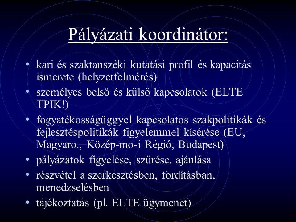 Pályázati koordinátor: kari és szaktanszéki kutatási profil és kapacitás ismerete (helyzetfelmérés) személyes belső és külső kapcsolatok (ELTE TPIK!) fogyatékosságüggyel kapcsolatos szakpolitikák és fejlesztéspolitikák figyelemmel kísérése (EU, Magyaro., Közép-mo-i Régió, Budapest) pályázatok figyelése, szűrése, ajánlása részvétel a szerkesztésben, fordításban, menedzselésben tájékoztatás (pl.