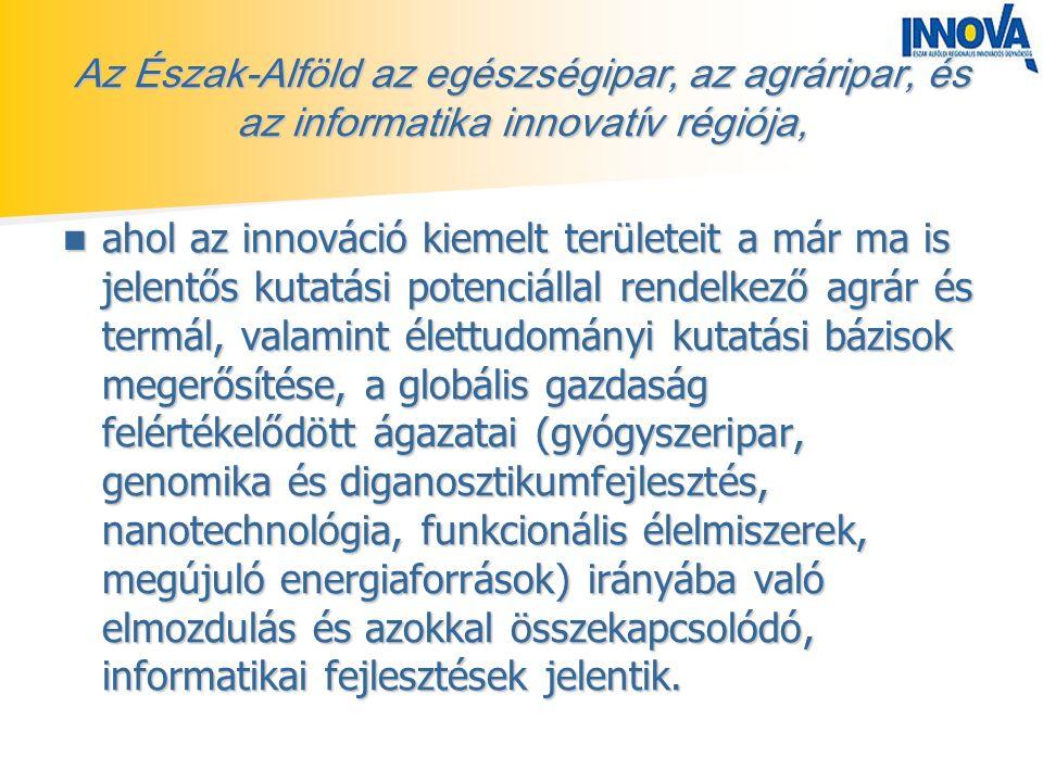 Az Észak-Alföld az egészségipar, az agráripar, és az informatika innovatív régiója, ahol az innováció kiemelt területeit a már ma is jelentős kutatási potenciállal rendelkező agrár és termál, valamint élettudományi kutatási bázisok megerősítése, a globális gazdaság felértékelődött ágazatai (gyógyszeripar, genomika és diganosztikumfejlesztés, nanotechnológia, funkcionális élelmiszerek, megújuló energiaforrások) irányába való elmozdulás és azokkal összekapcsolódó, informatikai fejlesztések jelentik.