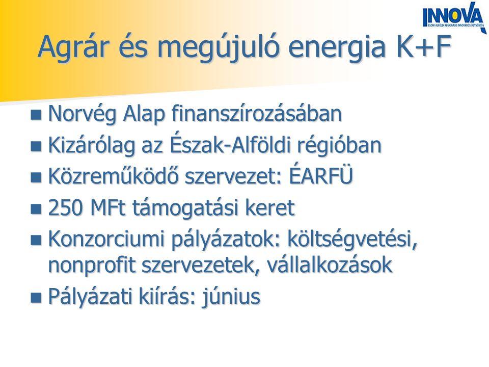 Agrár és megújuló energia K+F Norvég Alap finanszírozásában Norvég Alap finanszírozásában Kizárólag az Észak-Alföldi régióban Kizárólag az Észak-Alföldi régióban Közreműködő szervezet: ÉARFÜ Közreműködő szervezet: ÉARFÜ 250 MFt támogatási keret 250 MFt támogatási keret Konzorciumi pályázatok: költségvetési, nonprofit szervezetek, vállalkozások Konzorciumi pályázatok: költségvetési, nonprofit szervezetek, vállalkozások Pályázati kiírás: június Pályázati kiírás: június