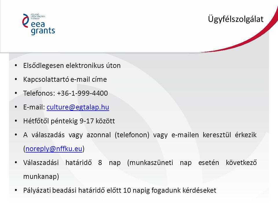 Elsődlegesen elektronikus úton Kapcsolattartó e-mail címe Telefonos: +36-1-999-4400 E-mail: culture@egtalap.huculture@egtalap.hu Hétfőtől péntekig 9-1