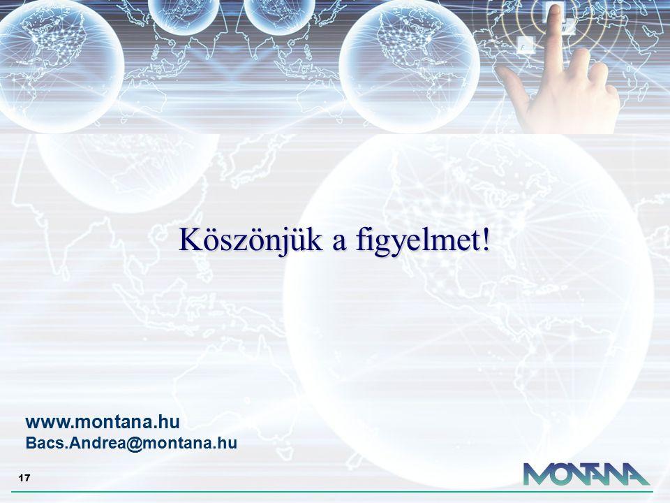 17 Köszönjük a figyelmet! www.montana.hu Bacs.Andrea@montana.hu