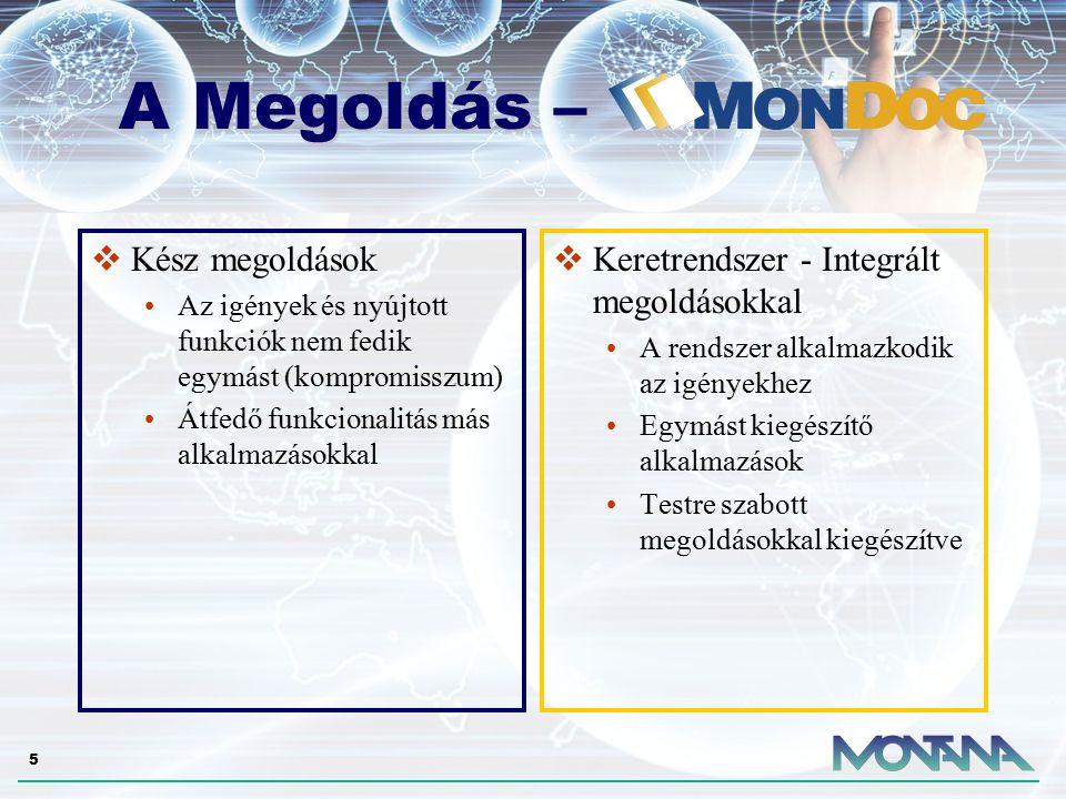 6 A MonDoc egy komplex irodai rendszer, mely illeszkedik olyan erős vagy piacvezető technológiákra, mint a Microsoft SQL Server, SharePoint Portal Server 2003, BizTalk 2004 és illeszkedik a vállalati intranet vagy Microsoft Office irodai környezetbe.