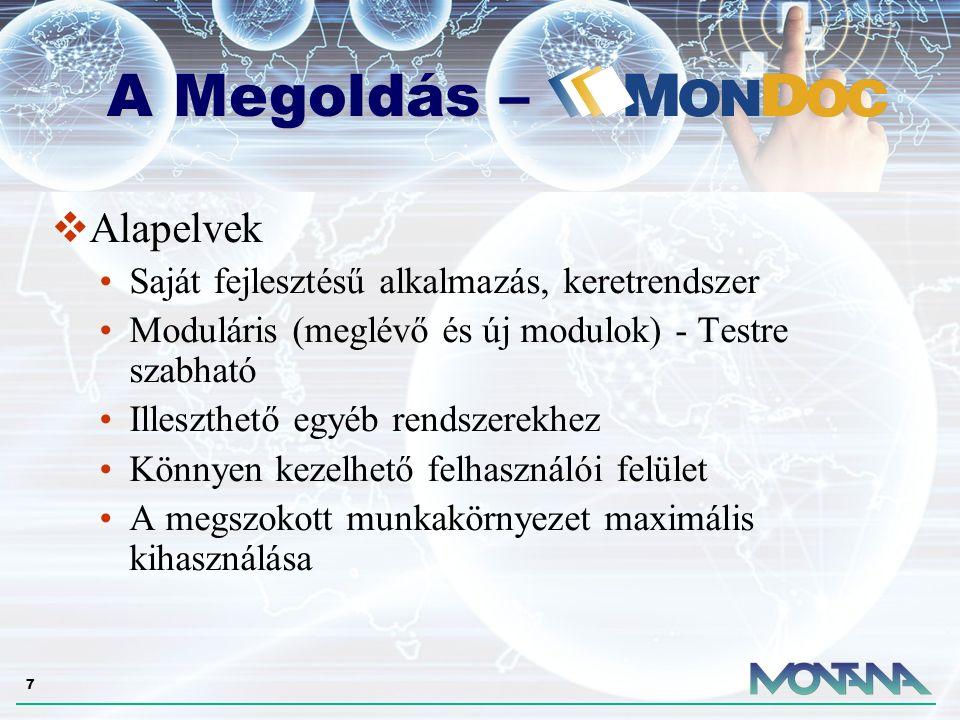 7  Alapelvek Saját fejlesztésű alkalmazás, keretrendszer Moduláris (meglévő és új modulok) - Testre szabható Illeszthető egyéb rendszerekhez Könnyen kezelhető felhasználói felület A megszokott munkakörnyezet maximális kihasználása A Megoldás – A Megoldás –