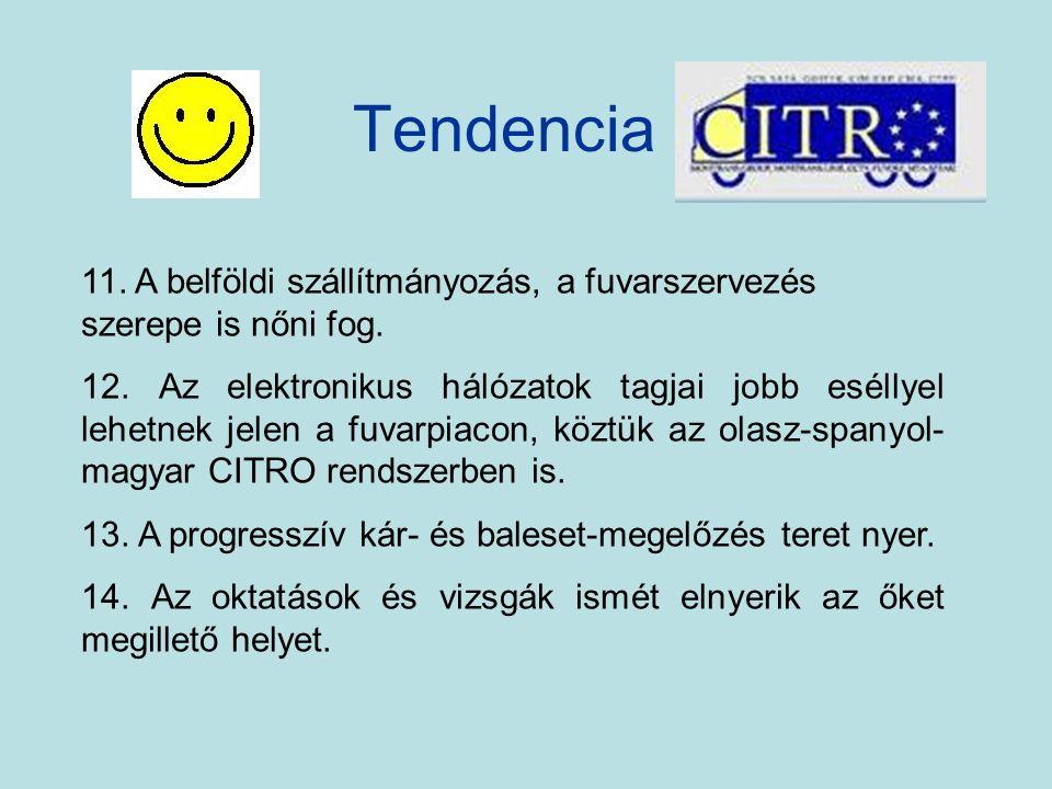 Tendencia 11. A belföldi szállítmányozás, a fuvarszervezés szerepe is nőni fog.