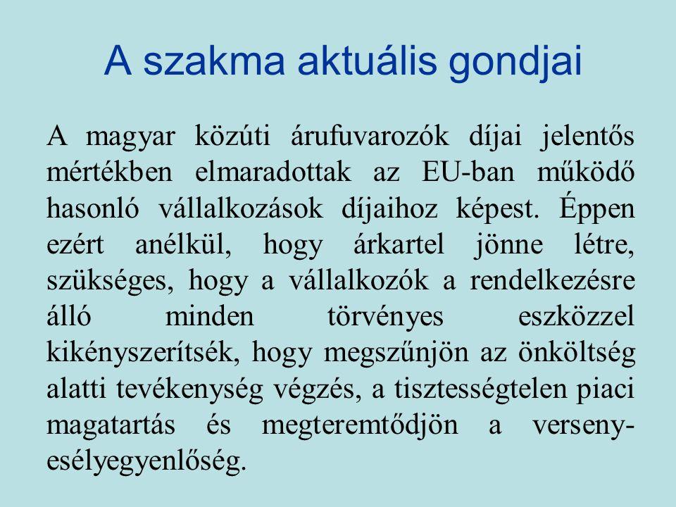 A szakma aktuális gondjai A magyar közúti árufuvarozók díjai jelentős mértékben elmaradottak az EU-ban működő hasonló vállalkozások díjaihoz képest.