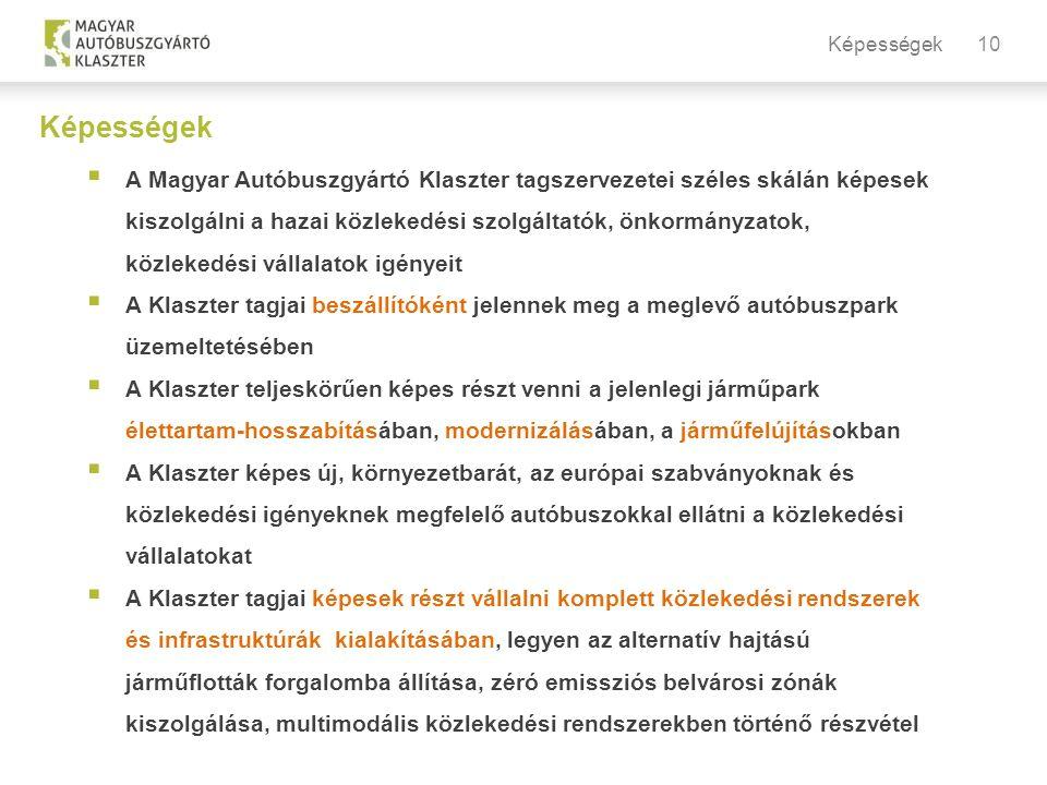 10 Képességek  A Magyar Autóbuszgyártó Klaszter tagszervezetei széles skálán képesek kiszolgálni a hazai közlekedési szolgáltatók, önkormányzatok, közlekedési vállalatok igényeit  A Klaszter tagjai beszállítóként jelennek meg a meglevő autóbuszpark üzemeltetésében  A Klaszter teljeskörűen képes részt venni a jelenlegi járműpark élettartam-hosszabításában, modernizálásában, a járműfelújításokban  A Klaszter képes új, környezetbarát, az európai szabványoknak és közlekedési igényeknek megfelelő autóbuszokkal ellátni a közlekedési vállalatokat  A Klaszter tagjai képesek részt vállalni komplett közlekedési rendszerek és infrastruktúrák kialakításában, legyen az alternatív hajtású járműflották forgalomba állítása, zéró emissziós belvárosi zónák kiszolgálása, multimodális közlekedési rendszerekben történő részvétel