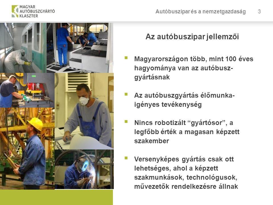 3 Az autóbuszipar jellemzői  Magyarországon több, mint 100 éves hagyománya van az autóbusz- gyártásnak  Az autóbuszgyártás élőmunka- igényes tevékenység  Nincs robotizált gyártósor , a legfőbb érték a magasan képzett szakember  Versenyképes gyártás csak ott lehetséges, ahol a képzett szakmunkások, technológusok, művezetők rendelkezésre állnak Autóbuszipar és a nemzetgazdaság