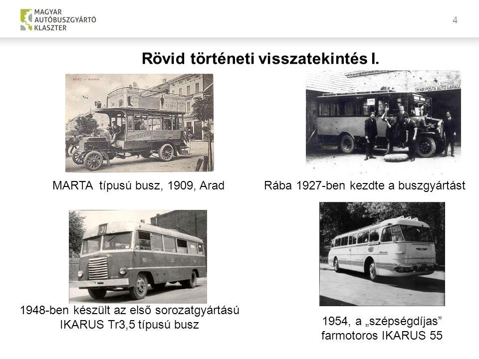"""4 MARTA típusú busz, 1909, AradRába 1927-ben kezdte a buszgyártást 1948-ben készült az első sorozatgyártású IKARUS Tr3,5 típusú busz 1954, a """"szépségd"""