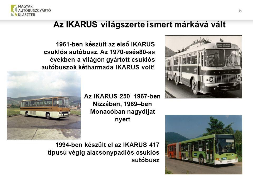 5 1961-ben készült az első IKARUS csuklós autóbusz. Az 1970-esés80-as években a világon gyártott csuklós autóbuszok kétharmada IKARUS volt! Az IKARUS