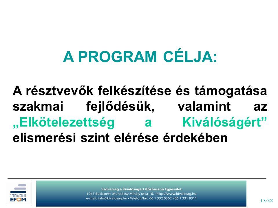 """13/38 A PROGRAM CÉLJA: A résztvevők felkészítése és támogatása szakmai fejlődésük, valamint az """"Elkötelezettség a Kiválóságért"""" elismerési szint eléré"""