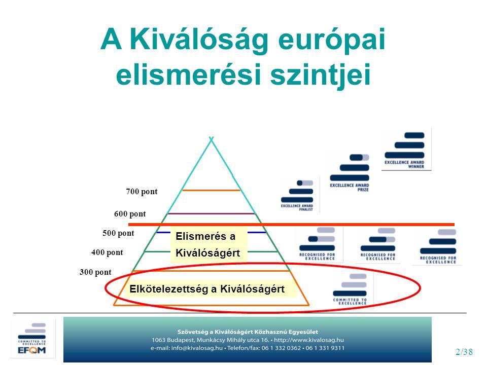 2/38 Elkötelezettség a Kiválóságért A Kiválóság európai elismerési szintjei Elismerés a Kiválóságért 300 pont 400 pont 500 pont 600 pont 700 pont