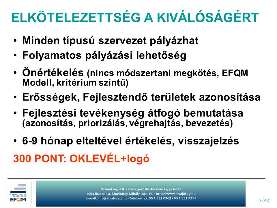 3/38 Minden típusú szervezet pályázhat Folyamatos pályázási lehetőség Önértékelés (nincs módszertani megkötés, EFQM Modell, kritérium szintű) Erősségek, Fejlesztendő területek azonosítása Fejlesztési tevékenység átfogó bemutatása (azonosítás, priorizálás, végrehajtás, bevezetés) 6-9 hónap elteltével értékelés, visszajelzés 300 PONT: OKLEVÉL+logó ELKÖTELEZETTSÉG A KIVÁLÓSÁGÉRT