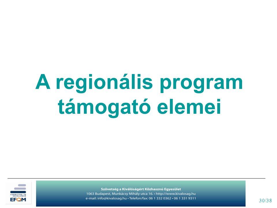 30/38 A regionális program támogató elemei