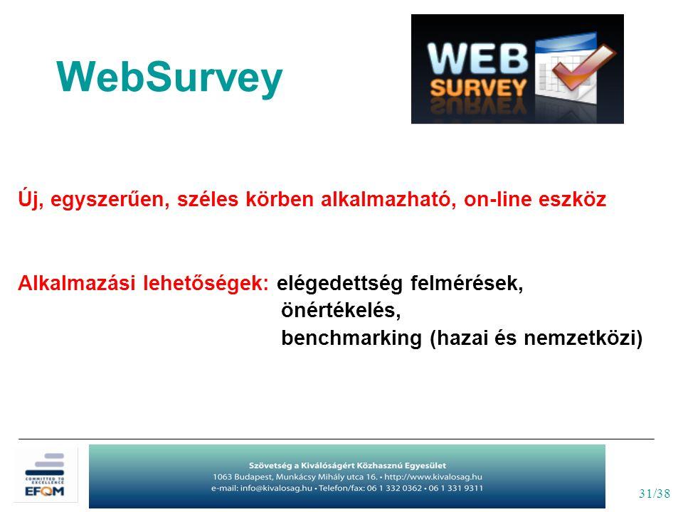 31/38 WebSurvey Új, egyszerűen, széles körben alkalmazható, on-line eszköz Alkalmazási lehetőségek: elégedettség felmérések, önértékelés, benchmarking (hazai és nemzetközi)