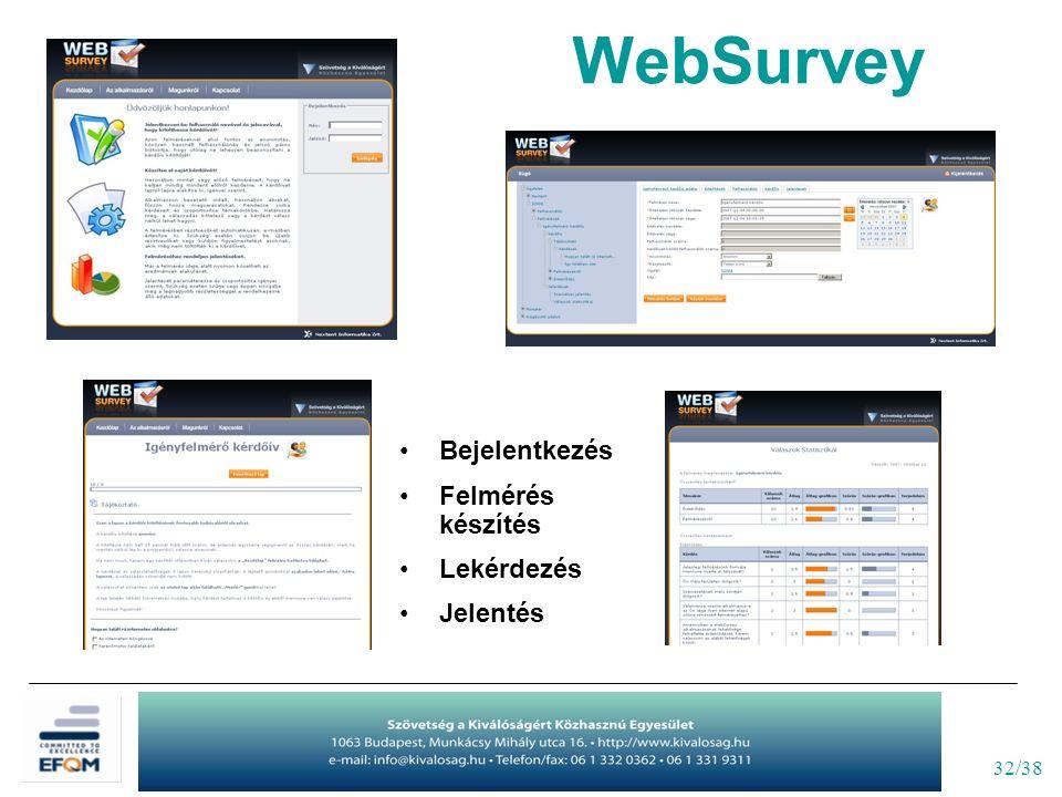 32/38 WebSurvey Bejelentkezés Felmérés készítés Lekérdezés Jelentés