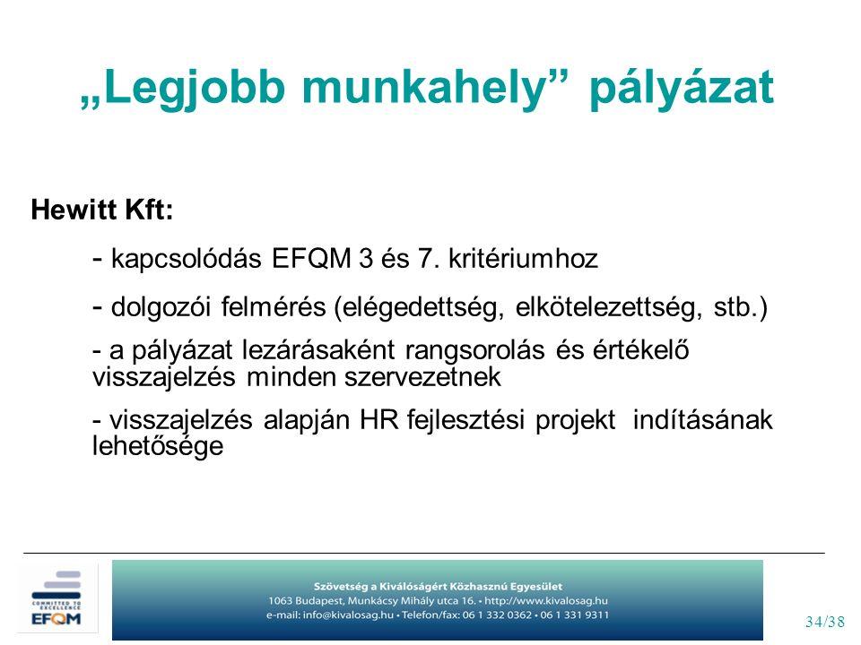 """34/38 """"Legjobb munkahely"""" pályázat Hewitt Kft: - kapcsolódás EFQM 3 és 7. kritériumhoz - dolgozói felmérés (elégedettség, elkötelezettség, stb.) - a p"""