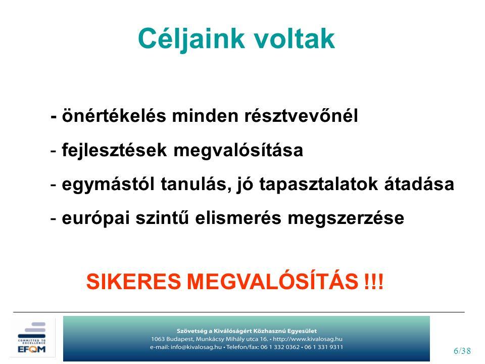 6/38 - önértékelés minden résztvevőnél - fejlesztések megvalósítása - egymástól tanulás, jó tapasztalatok átadása - európai szintű elismerés megszerzése SIKERES MEGVALÓSÍTÁS !!.