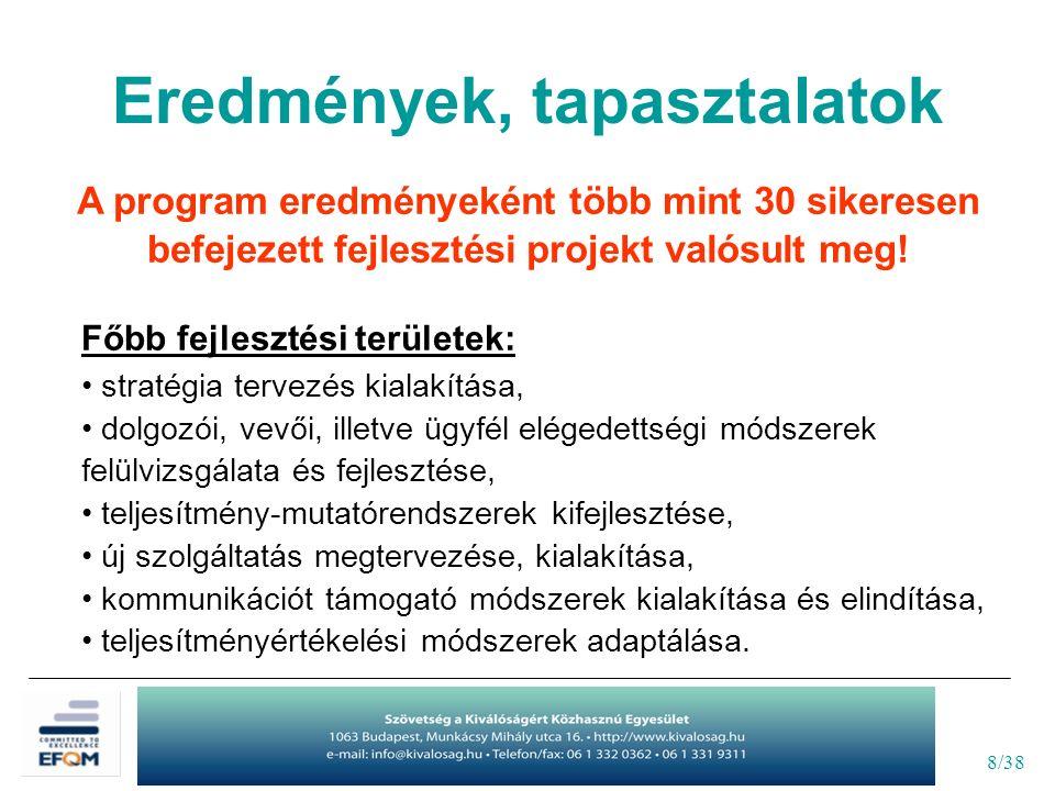 9/38 A program alábbi előnyeit emelték ki a résztvevők képviselői: - mérhető fejlődés elérése a program végére, - mintaértékű cégek gyakorlatának mélyebb megismerése, - a munkatársak elkötelezettségének fokozása a fejlesztési projektekbe való bevonáson keresztül, - a stratégiai szemlélet kialakítása/erősítése a szervezeten belül, - a projekt-menedzsment munkastílus megalapozása, fejlesztése, - új partnerkapcsolatok kialakításának lehetősége, - a kapott európai elismerés marketing értéke.