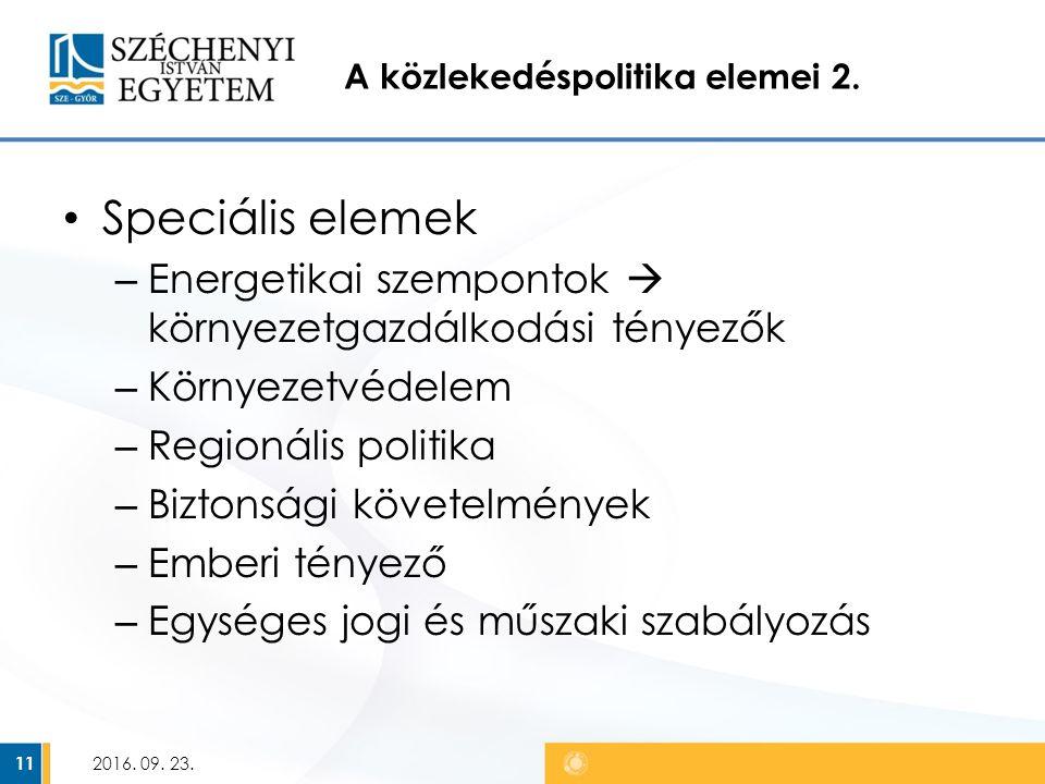 A közlekedéspolitika elemei 2.