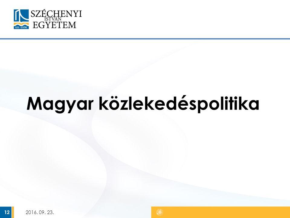 Magyar közlekedéspolitika 2016. 09. 23. 12