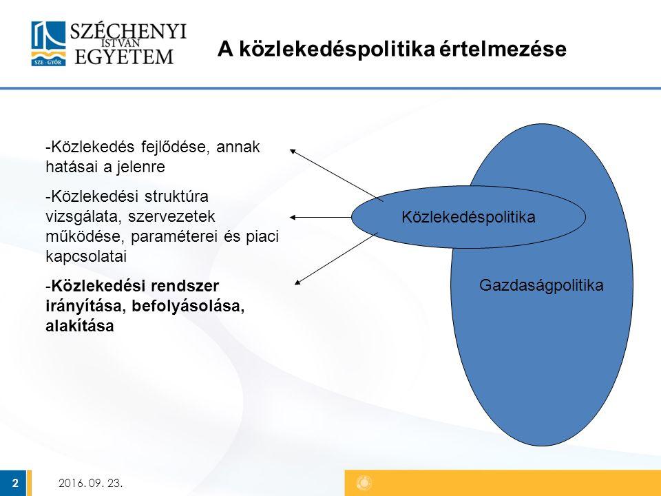 2 A közlekedéspolitika értelmezése Gazdaságpolitika Közlekedéspolitika -Közlekedés fejlődése, annak hatásai a jelenre -Közlekedési struktúra vizsgálata, szervezetek működése, paraméterei és piaci kapcsolatai -Közlekedési rendszer irányítása, befolyásolása, alakítása