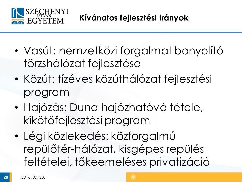 Kívánatos fejlesztési irányok Vasút: nemzetközi forgalmat bonyolító törzshálózat fejlesztése Közút: tízéves közúthálózat fejlesztési program Hajózás: Duna hajózhatóvá tétele, kikötőfejlesztési program Légi közlekedés: közforgalmú repülőtér-hálózat, kisgépes repülés feltételei, tőkeemeléses privatizáció 2016.