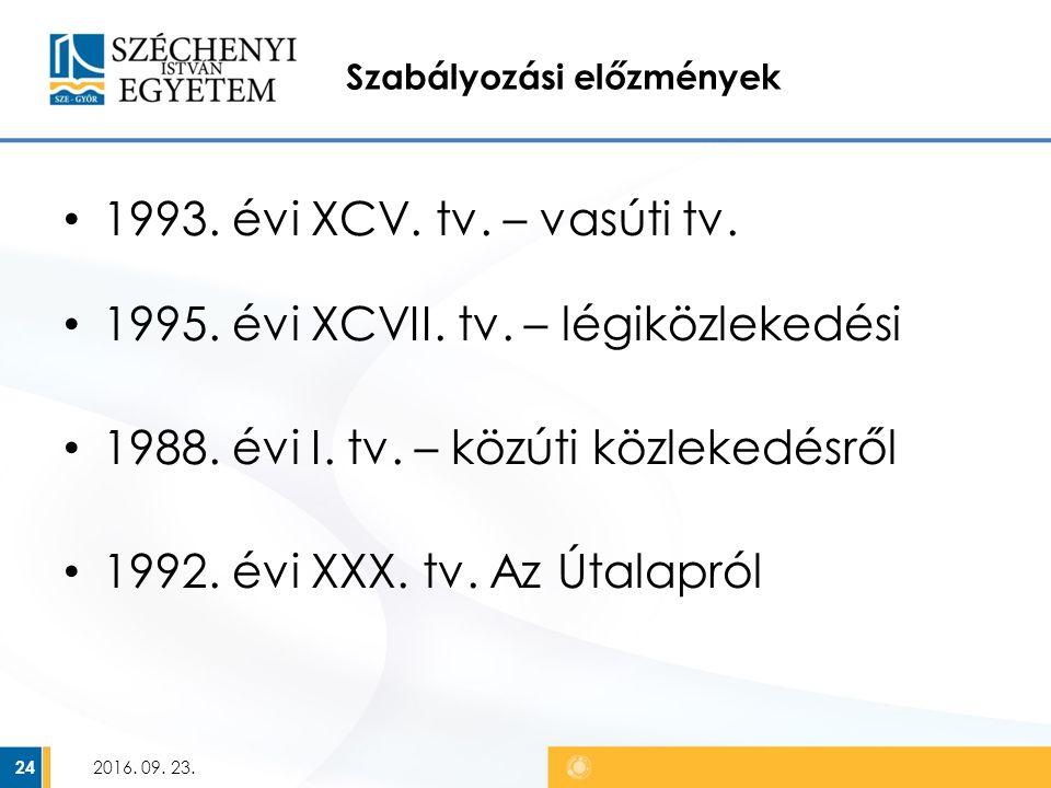Szabályozási előzmények 1993. évi XCV. tv. – vasúti tv.