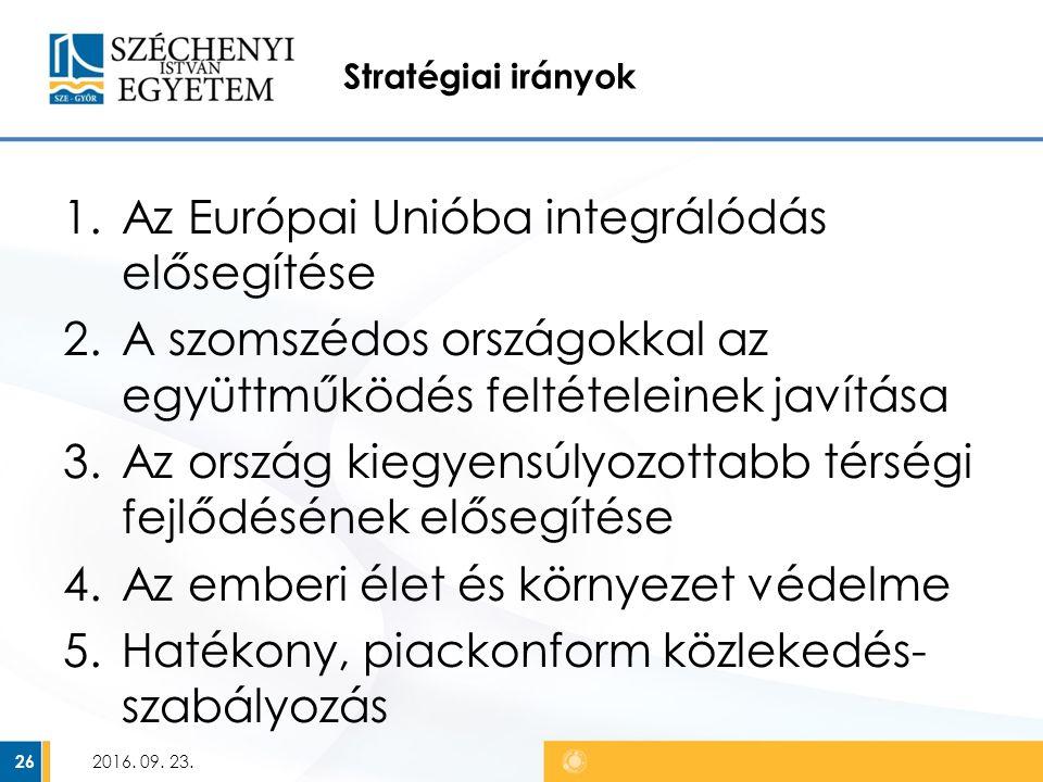 Stratégiai irányok 1.Az Európai Unióba integrálódás elősegítése 2.A szomszédos országokkal az együttműködés feltételeinek javítása 3.Az ország kiegyensúlyozottabb térségi fejlődésének elősegítése 4.Az emberi élet és környezet védelme 5.Hatékony, piackonform közlekedés- szabályozás 2016.