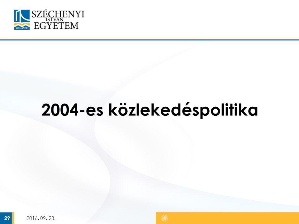 2004-es közlekedéspolitika 2016. 09. 23. 29