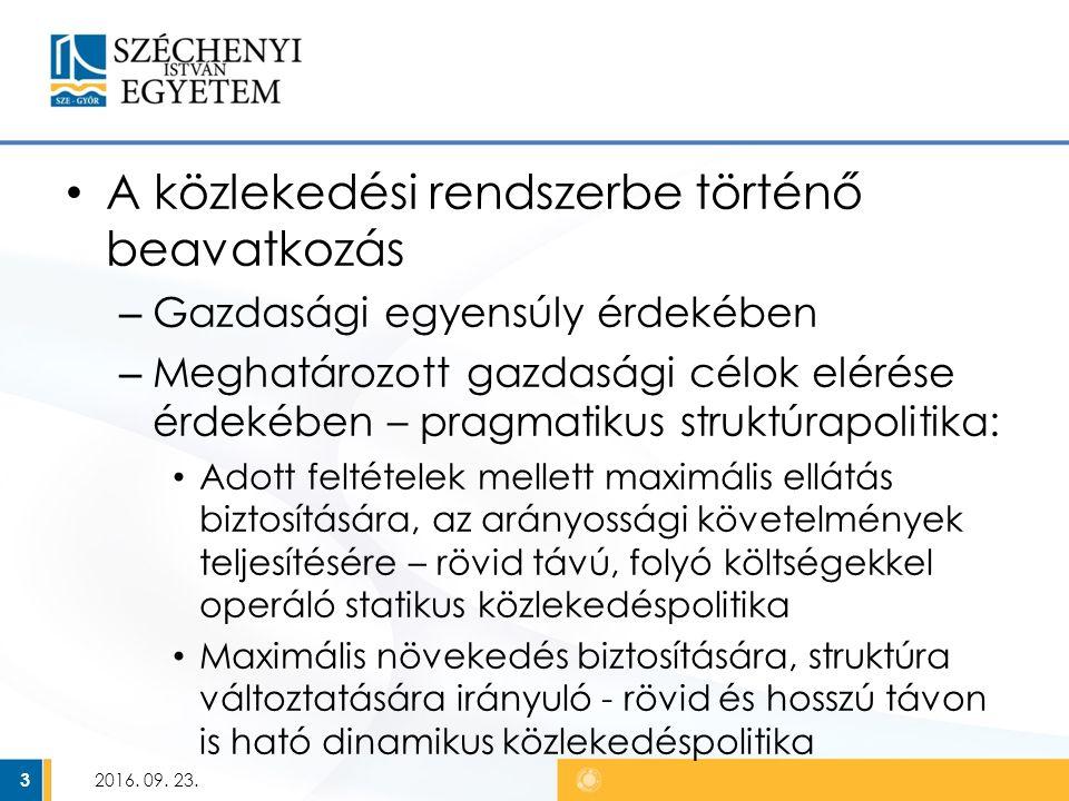 """2011-es közlekedéspolitika """"Útiterv az egységes európai közlekedési térség megvalósításához Kiindulás: """"a mobilitás visszaszorítása nem tekinthető megoldásnak  A munkamegosztási arányok (modal- split) optimalizálása szükséges Komodalitás Figyelembe kell venni a növekedési korlátokat: környezeti fenntarthatóság, energia felhasználás, fejlesztési források 2016."""