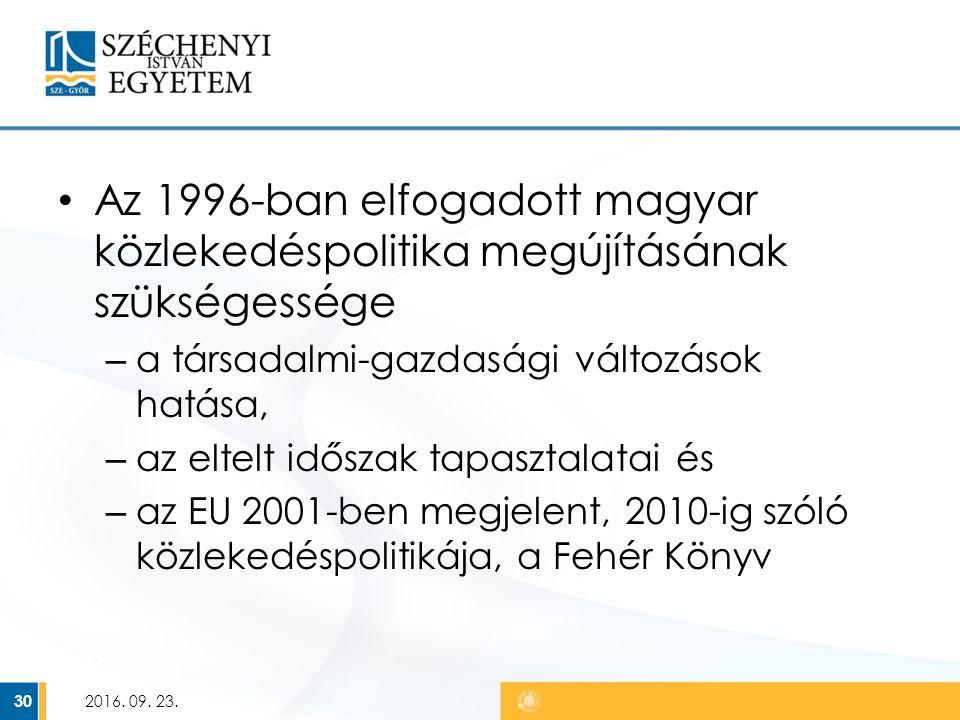 Az 1996-ban elfogadott magyar közlekedéspolitika megújításának szükségessége – a társadalmi-gazdasági változások hatása, – az eltelt időszak tapasztalatai és – az EU 2001-ben megjelent, 2010-ig szóló közlekedéspolitikája, a Fehér Könyv 2016.