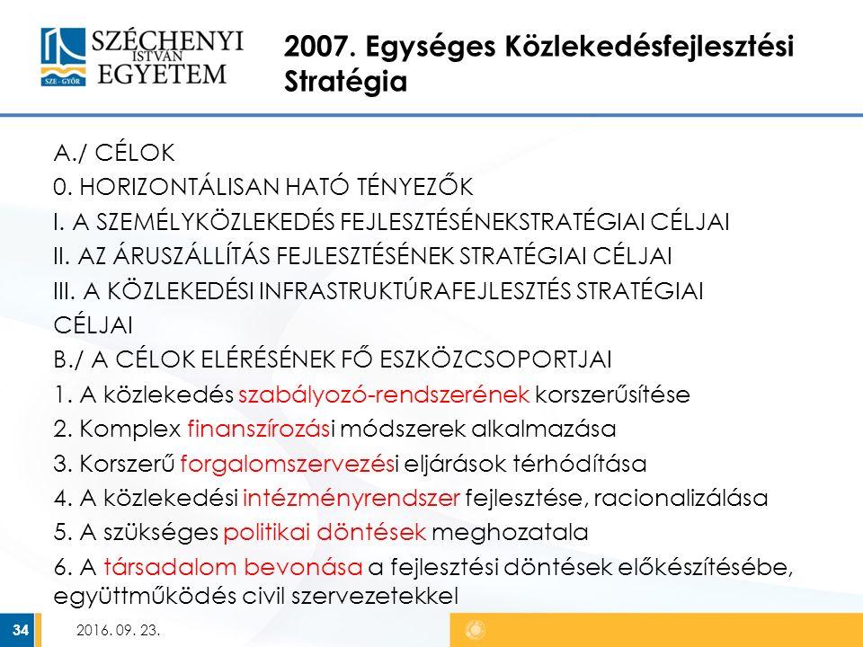 2007. Egységes Közlekedésfejlesztési Stratégia A./ CÉLOK 0.