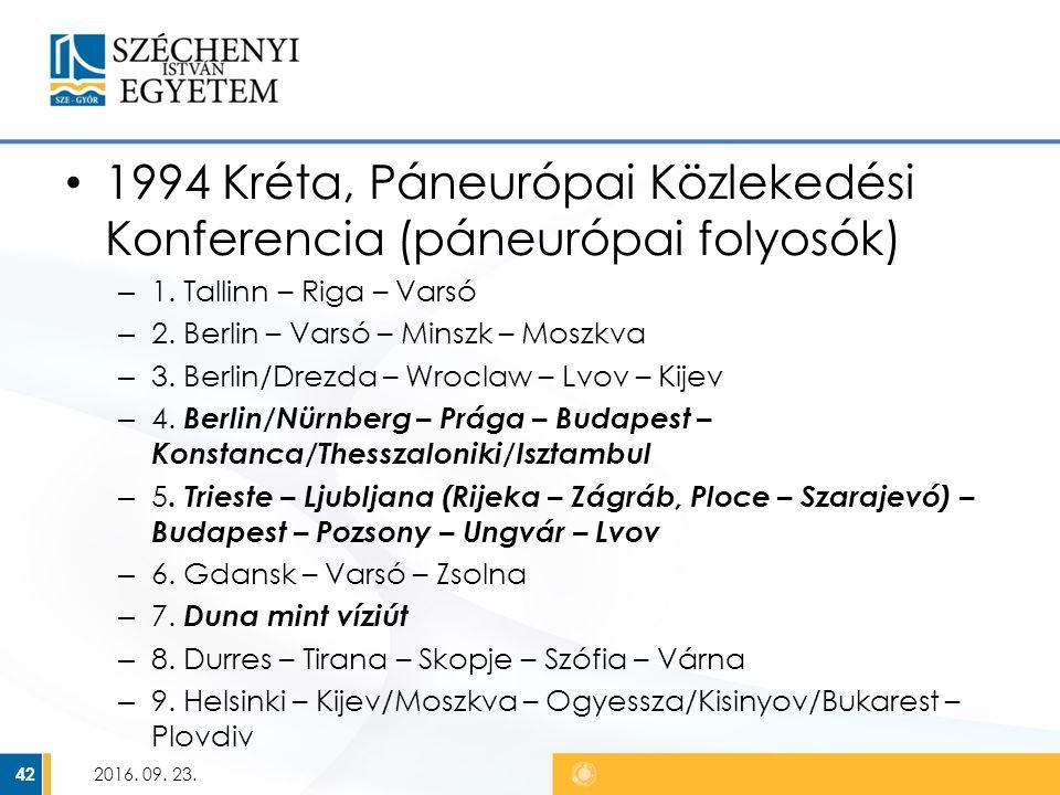 1994 Kréta, Páneurópai Közlekedési Konferencia (páneurópai folyosók) – 1.