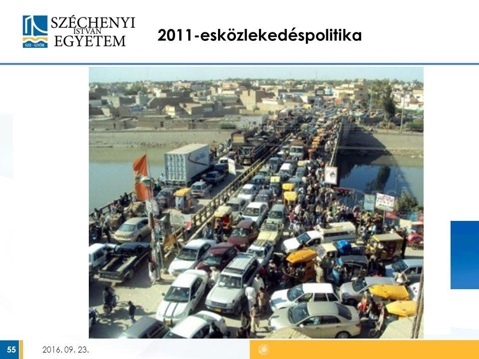 2011-esközlekedéspolitika Hosszú távú stratégia – 2050-ig Fő célkitűzések: – CO 2 és üvegház hatású gázok emissziójának csökkentése – A közlekedés energiaszükségletének csökkentése – Torlódások csökkentése A megvalósulást 10 teljesítménymutatón keresztül ellenőrzik 2016.