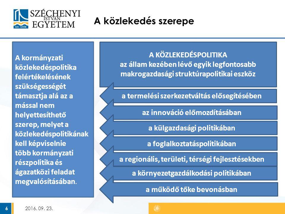 1993-as Közlekedéspolitika célja az EU-tagállamok különböző szabályainak harmonizációja, az infrastruktúra- fejlesztések összehangolása, a nemzeti infrastruktúrahálózatok (közutak, vasúti pályák) közötti átjárhatóság biztosítása 2016.
